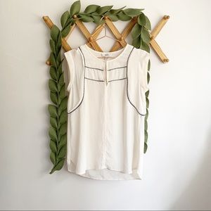 J. Crew Cap Sleeve Cream Top